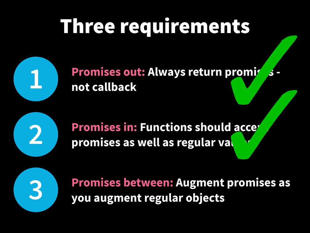 1 Promises out: Always return promises - not ca...