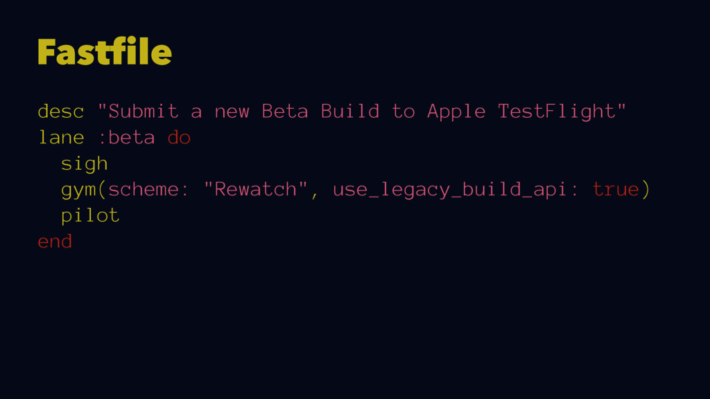 "Fastfile desc ""Submit a new Beta Build to Apple..."