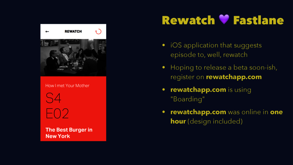 Rewatch ! Fastlane • iOS application that sugge...