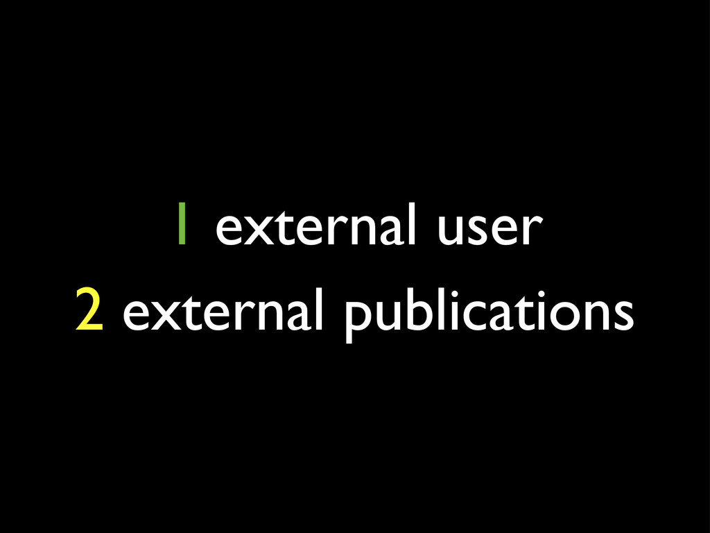 1 external user 2 external publications