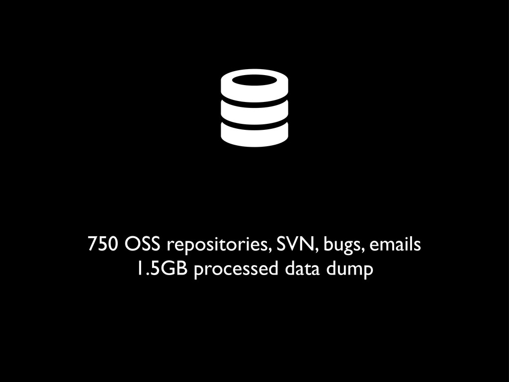  750 OSS repositories, SVN, bugs, emails 1.5GB...