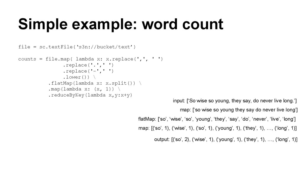 Simple example: word count file = sc.textFile('...