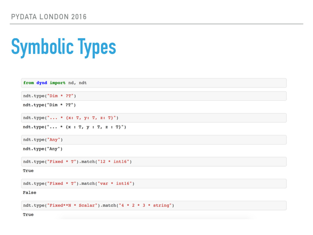 PYDATA LONDON 2016 Symbolic Types