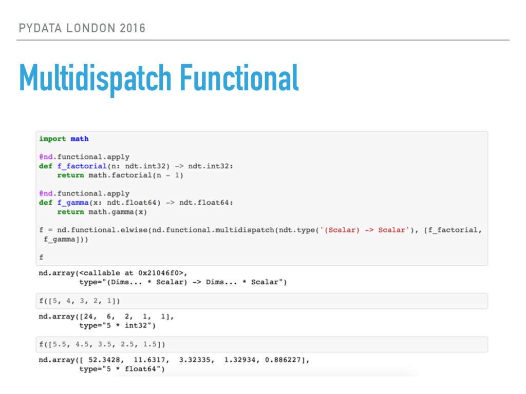 PYDATA LONDON 2016 Multidispatch Functional