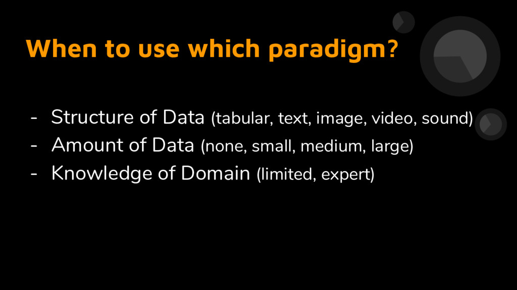 - Structure of Data (tabular, text, image, vide...