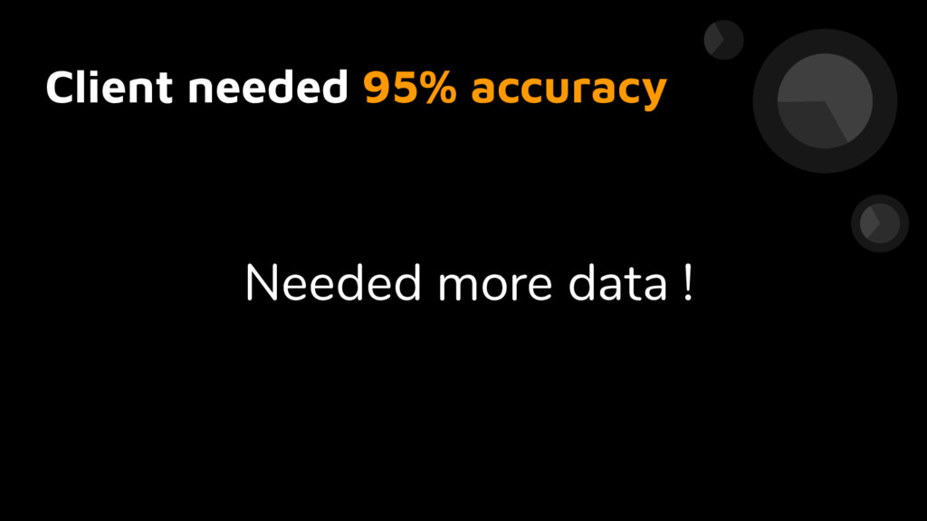 Client needed 95% accuracy Needed more data !