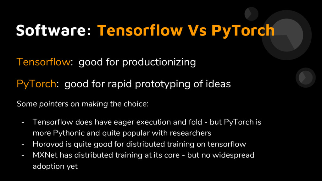 Software: Tensorflow Vs PyTorch Tensorflow: goo...