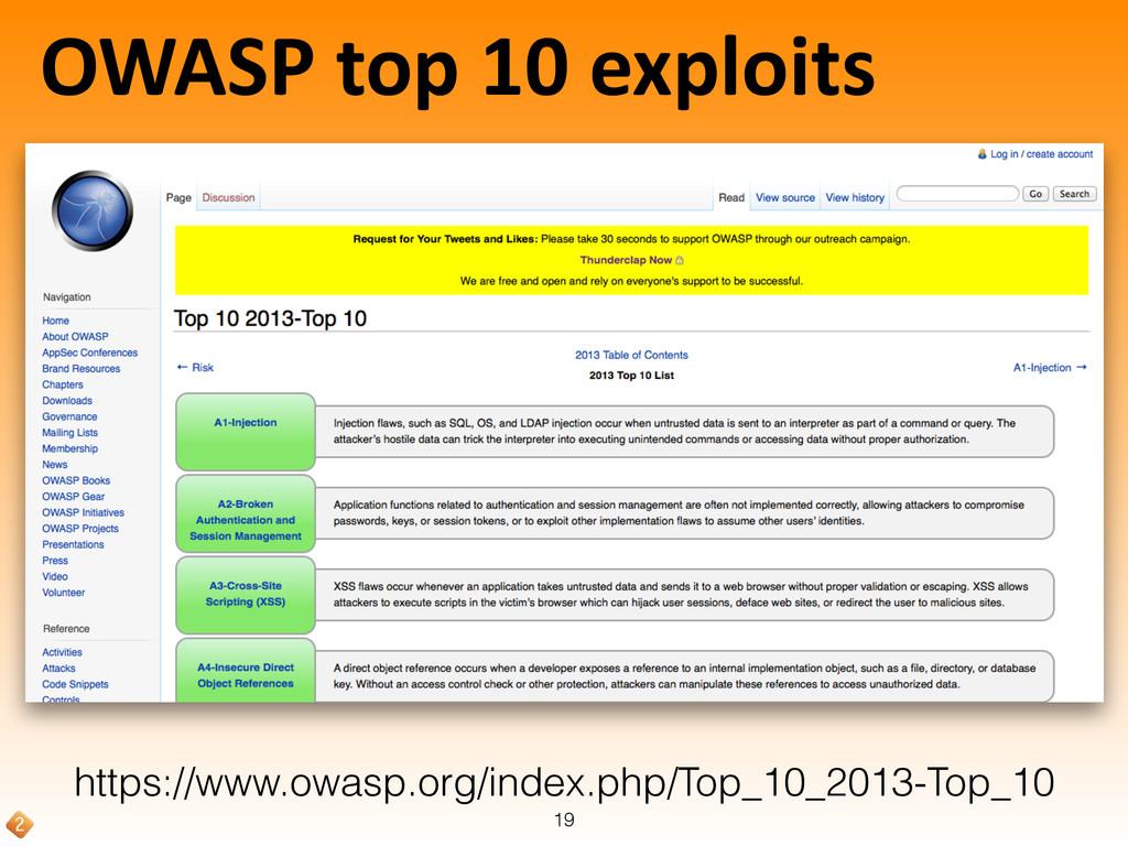 OWASP top 10 exploits 19 https://www.o...