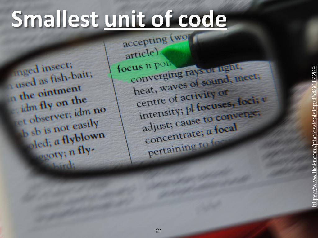 Smallest unit of code 21 https://www.fl...