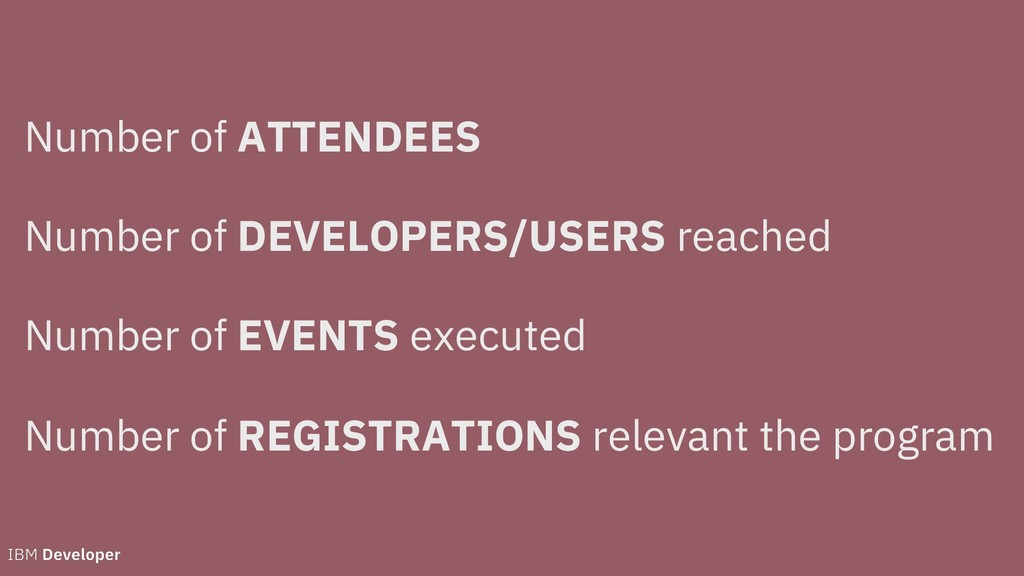 Number of ATTENDEES Number of DEVELOPERS/USERS ...