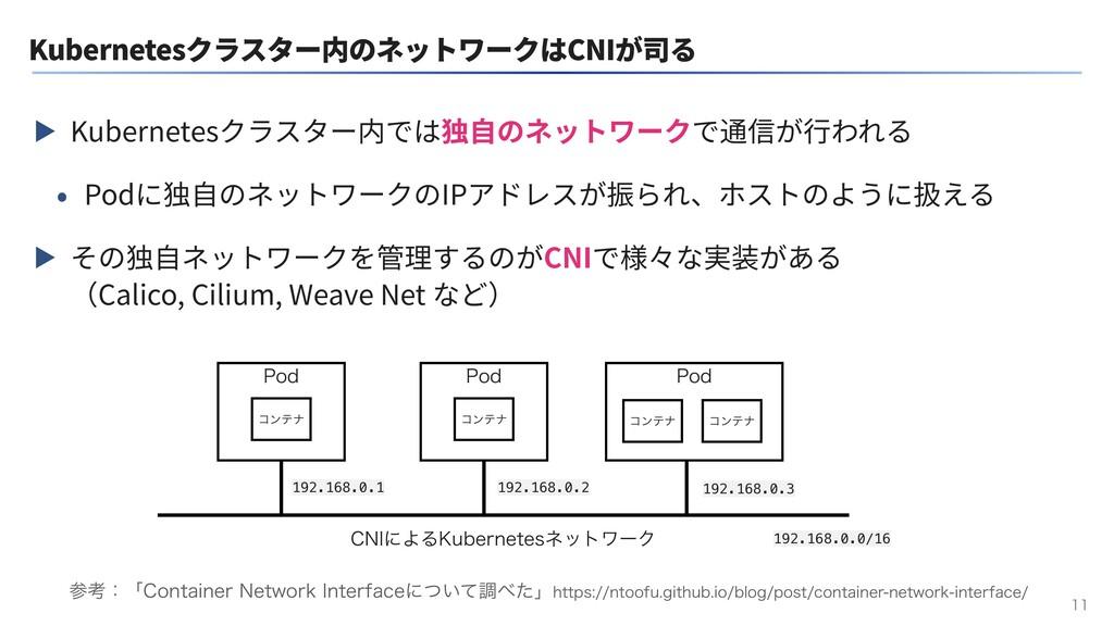 Kubernetesクラスター内のネットワークはCNIが司る ▶ Kubernetesクラスタ...