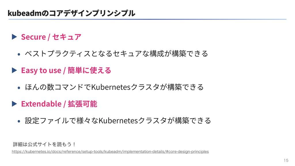kubeadmのコアデザインプリンシプル ▶ Secure / セキュア • ベストプラクティ...