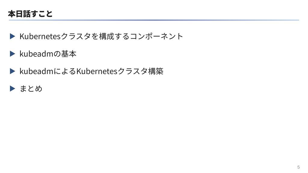 本⽇話すこと ▶ Kubernetesクラスタを構成するコンポーネント ▶ kubeadmの基...