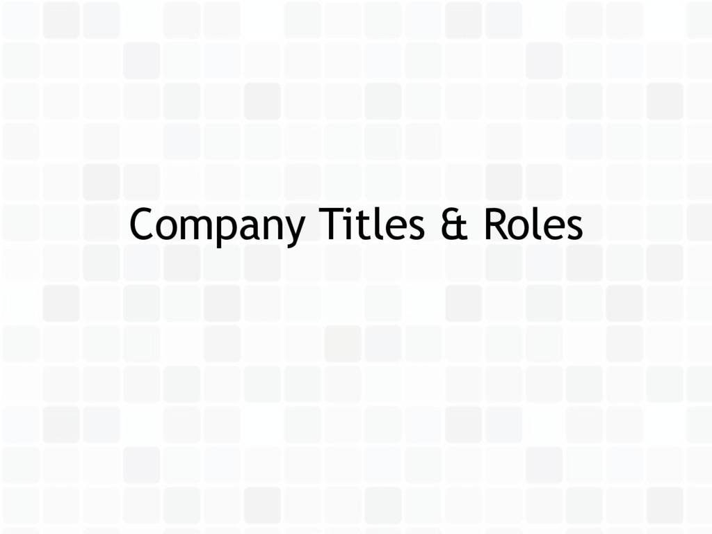 Company Titles & Roles