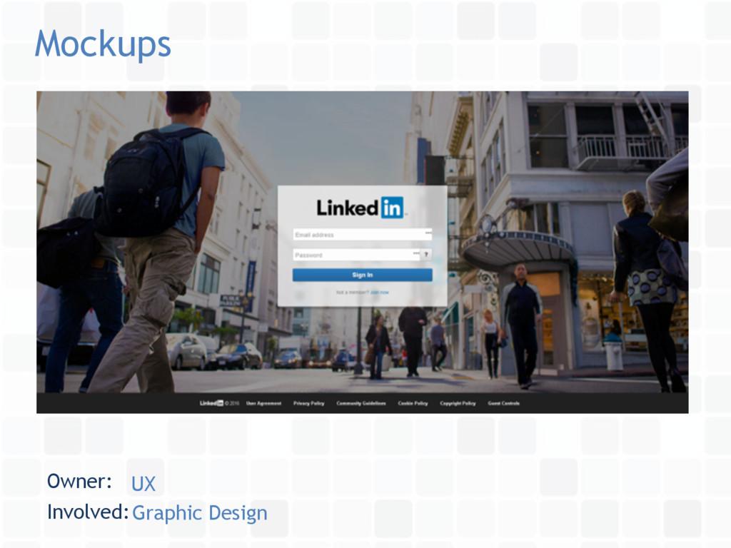 Mockups Owner: UX Involved:Graphic Design