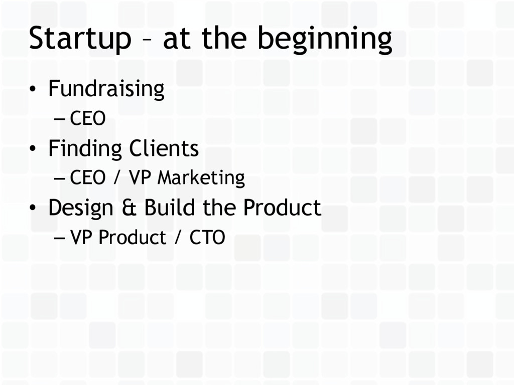 • Fundraising – CEO • Finding Clients – CEO / V...
