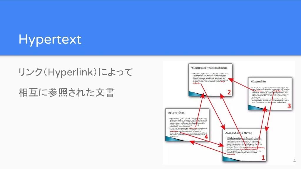 Hypertext リンク(Hyperlink)によって 相互に参照された文書 4