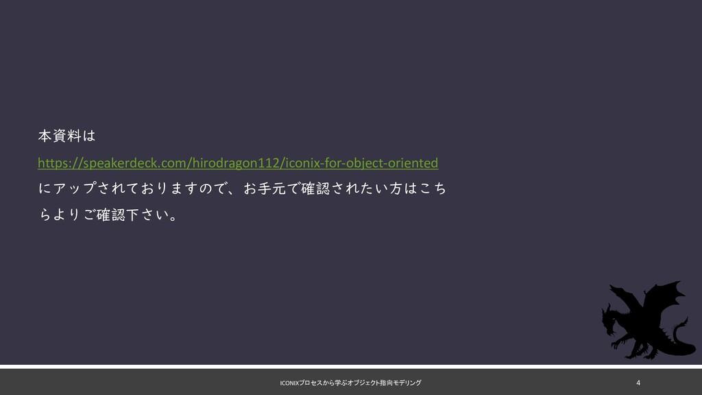 ICONIXプロセスから学ぶオブジェクト指向モデリング 本資料は https://speake...