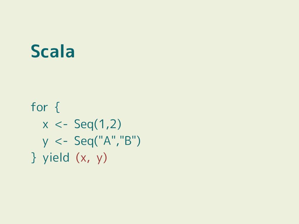 """Scala for { x <- Seq(1,2) y <- Seq(""""A"""",""""B"""") } y..."""