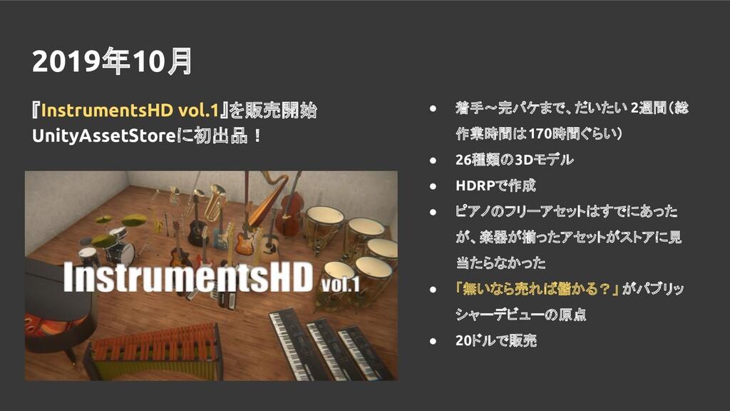 2019年10月 『InstrumentsHD vol.1』を販売開始 UnityAssetS...