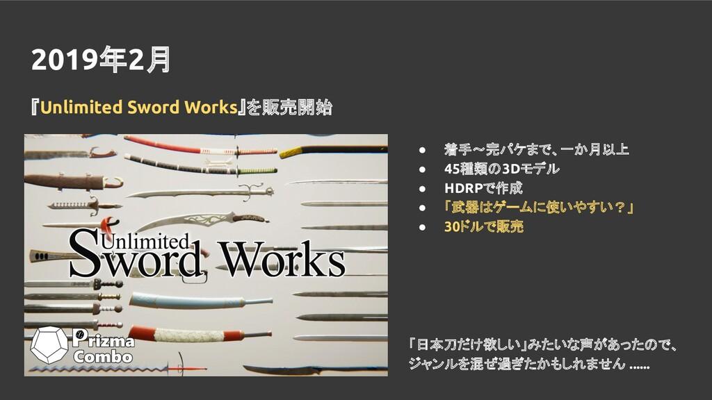 2019年2月 『Unlimited Sword Works』を販売開始 ● 着手~完パケまで...