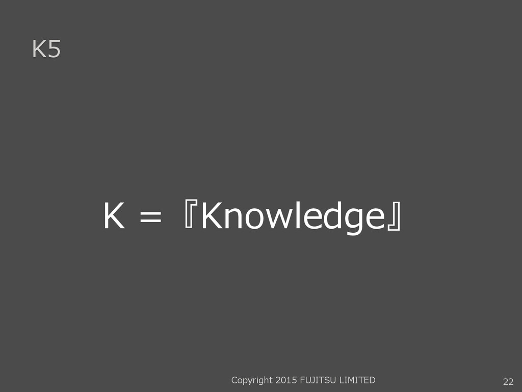 K5 K =『Knowledge』 22 Copyright 2015 FUJITSU LIM...
