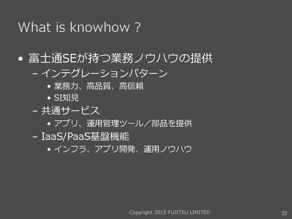 What is knowhow ? • 富士通SEが持つ業務ノウハウの提供 – インテグレーシ...
