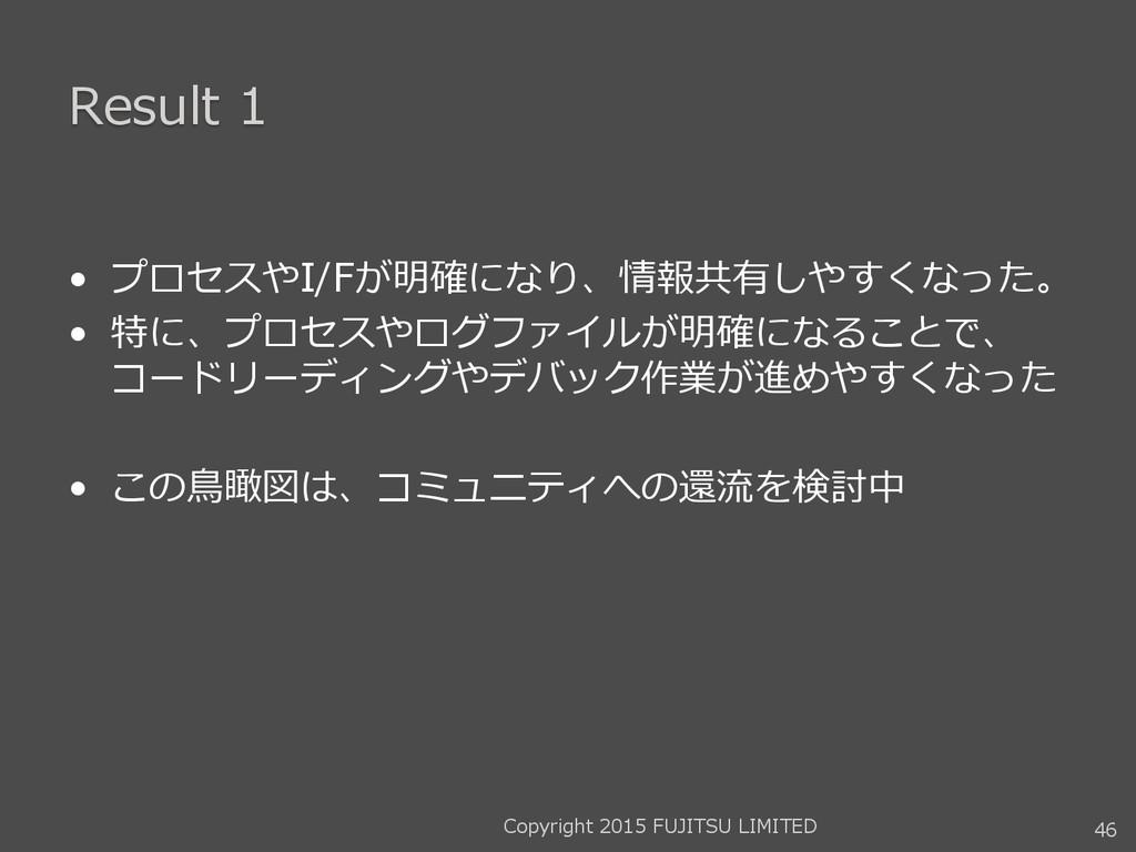 Result 1 • プロセスやI/Fが明確になり、情報共有しやすくなった。 • 特に、プロセ...