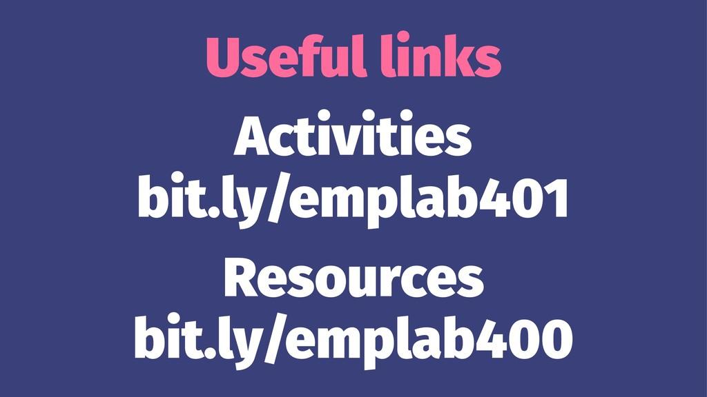 Useful links Activities bit.ly/emplab401 Resour...