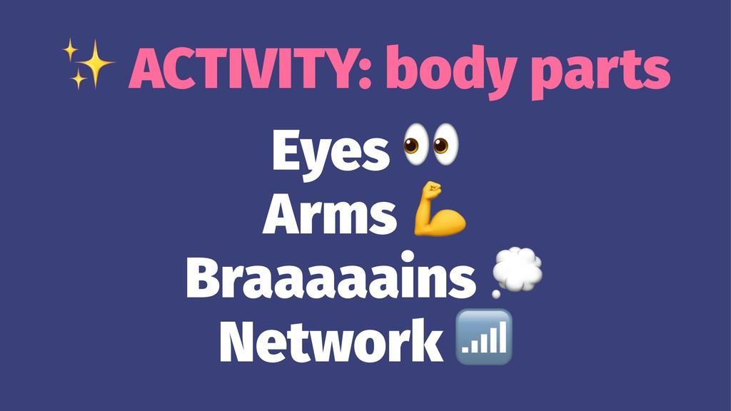 ✨ ACTIVITY: body parts Eyes Arms Braaaaains Net...
