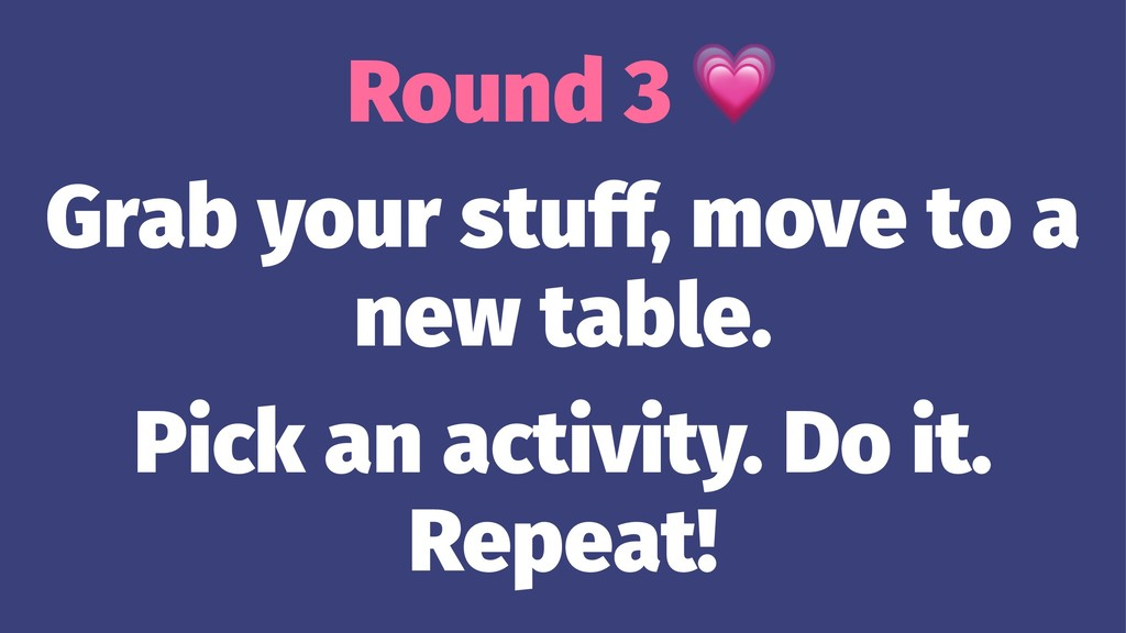 Round 3 Grab your stuff, move to a new table. P...