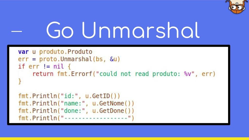 Go Unmarshal