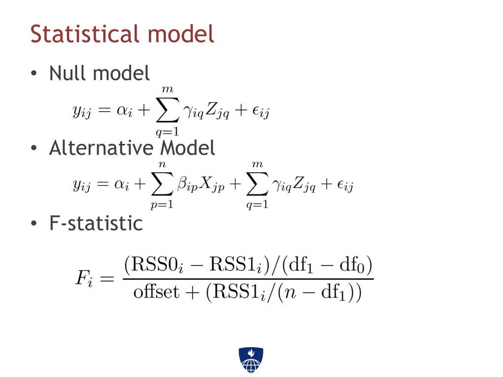 Statistical model • Null model • Alternative ...