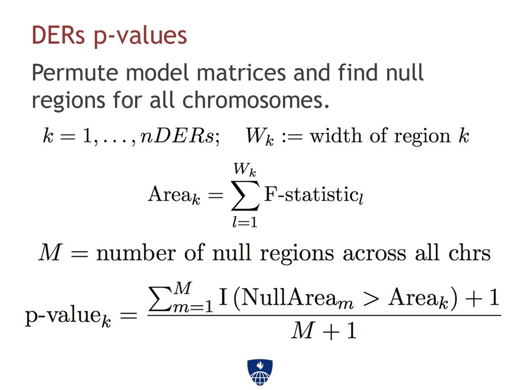 DERs p-values Permute model matrices and find n...