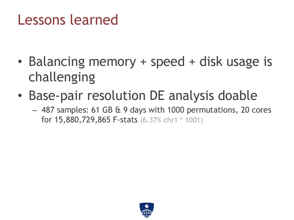 Lessons learned • Balancing memory + speed + d...