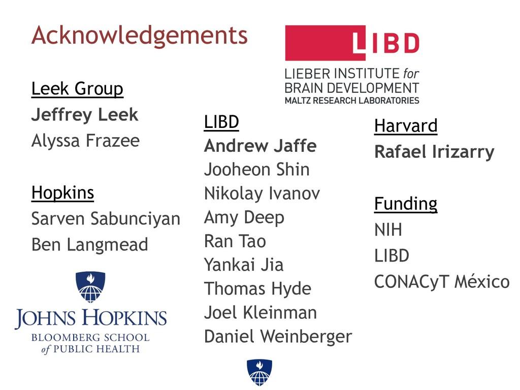 Acknowledgements Leek Group Jeffrey Leek Alyssa...