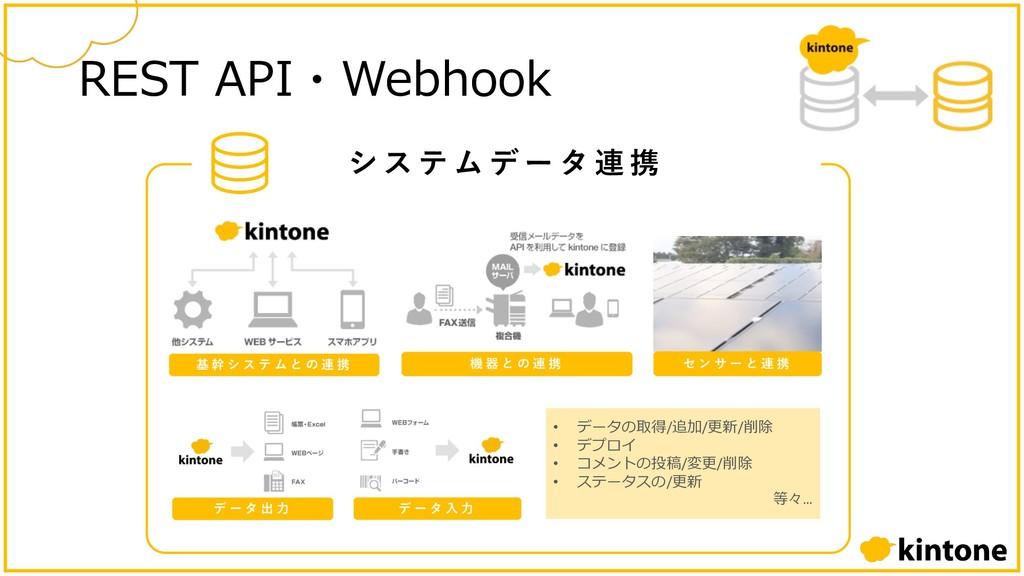 シ ス テ ム デ ー タ 連 携 REST API・Webhook 基 幹 シ ス テ ム ...