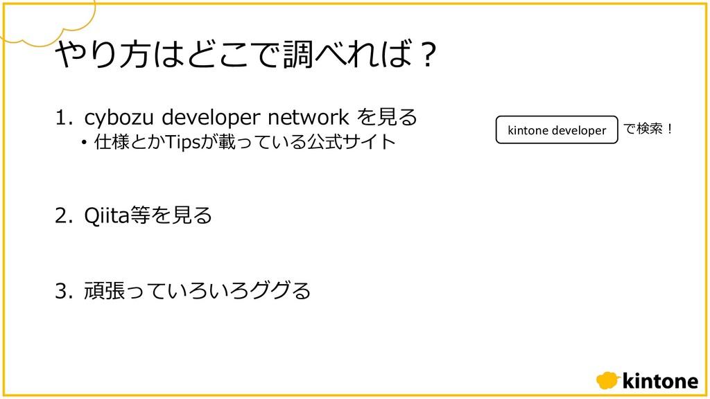 やり⽅はどこで調べれば︖ 1. cybozu developer network を⾒る • ...