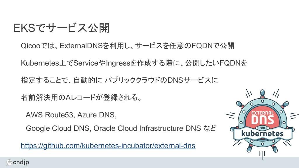 EKSでサービス公開 Qicooでは、ExternalDNSを利用し、サービスを任意のFQDN...