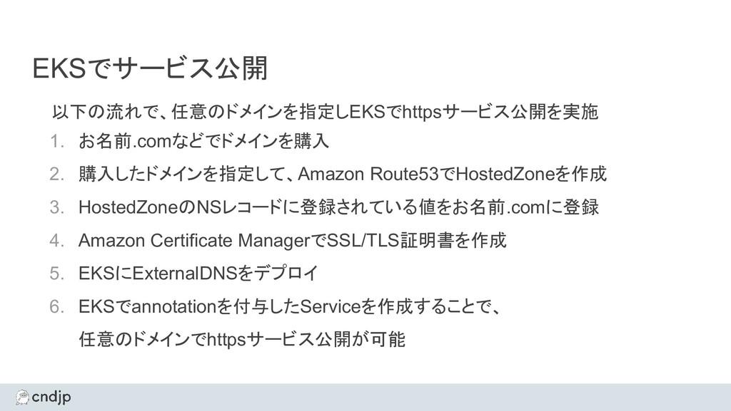 EKSでサービス公開 以下の流れで、任意のドメインを指定しEKSでhttpsサービス公開を実施...