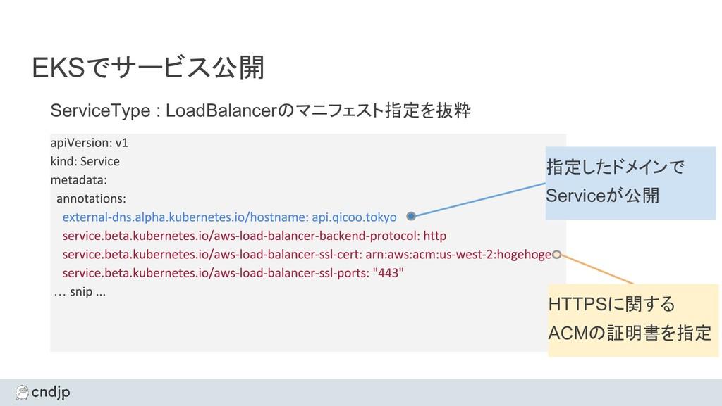 EKSでサービス公開 ServiceType : LoadBalancerのマニフェスト指定を...