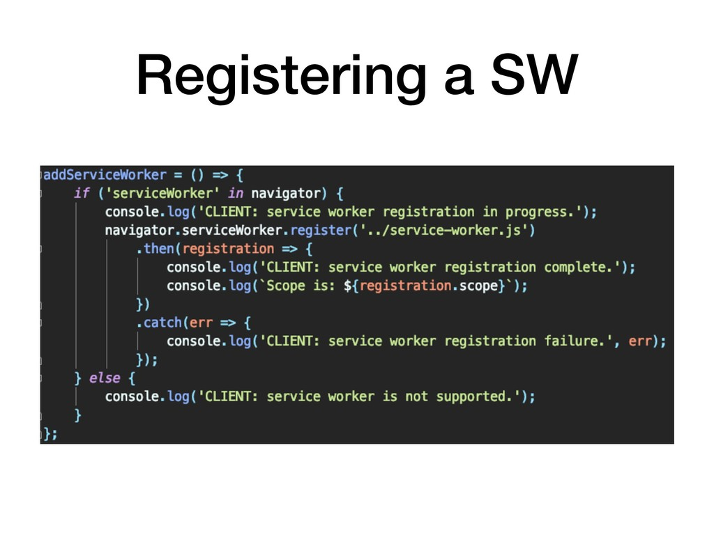Registering a SW
