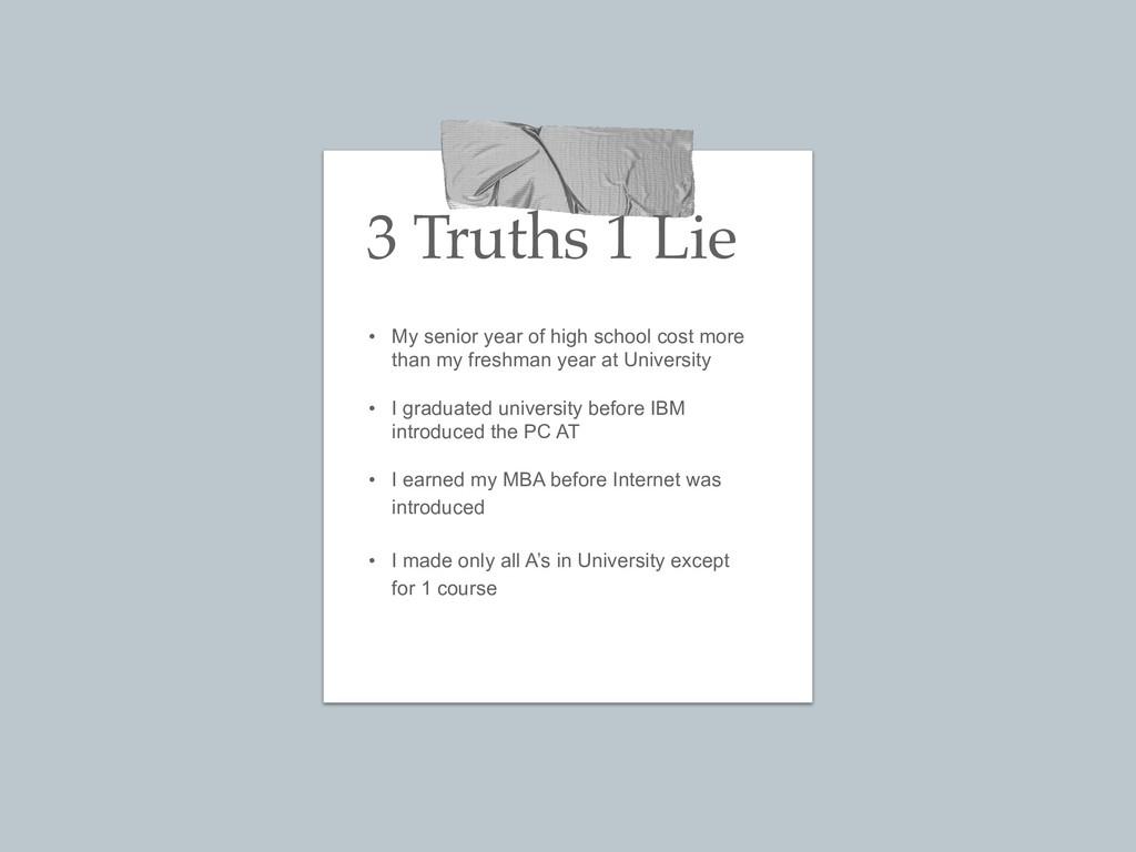 3 Truths 1 Lie • My senior year of high school ...