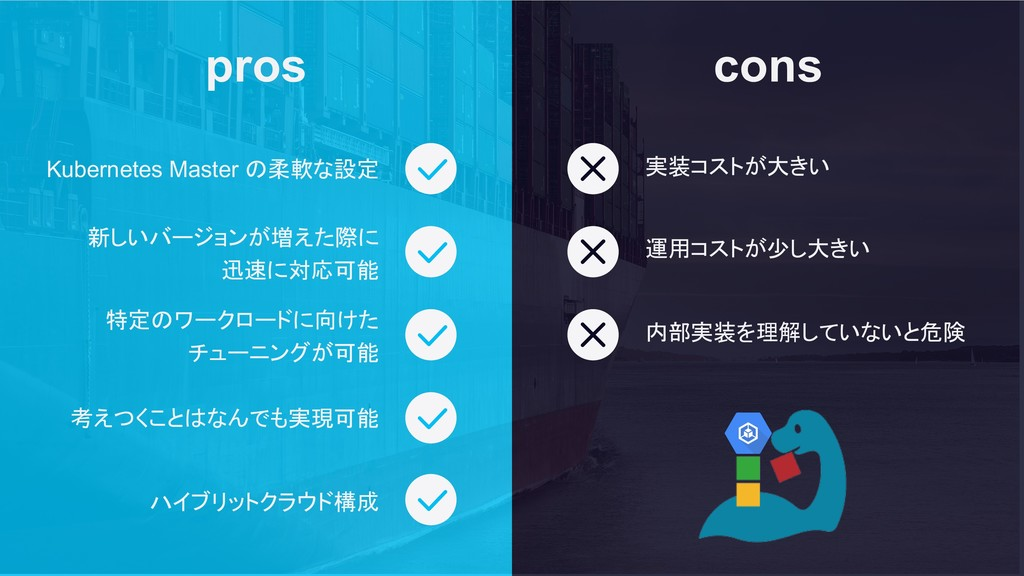 cons pros Kubernetes Master の柔軟な設定 新しいバージョンが増えた...