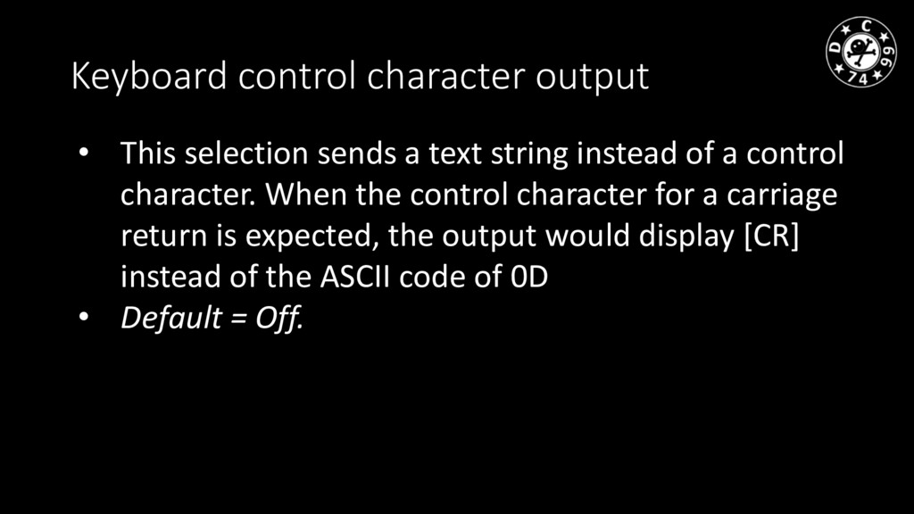 Keyboard control character output • This select...