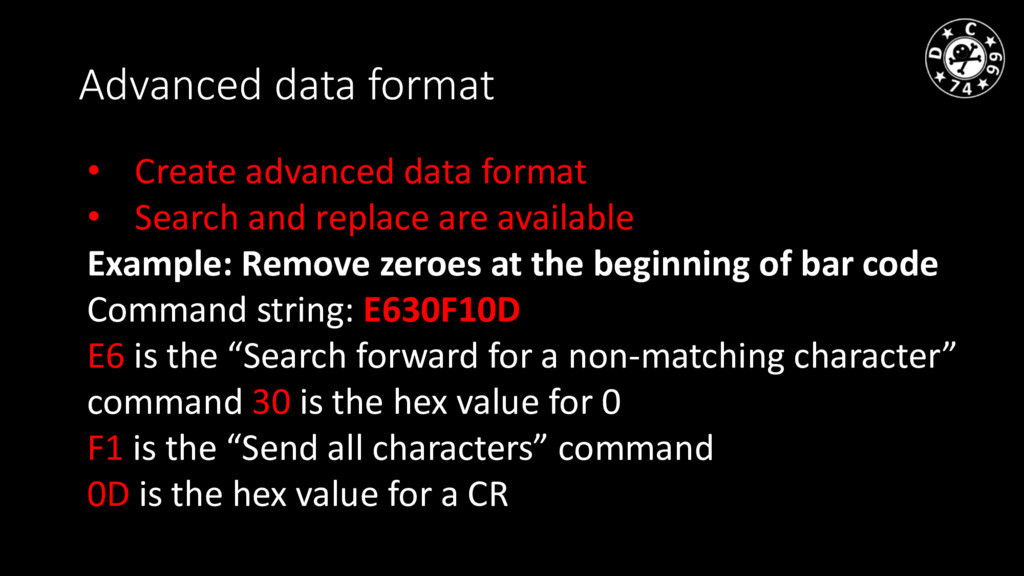 Advanced data format • Create advanced data for...