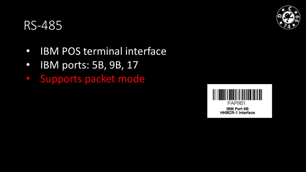 RS-485 • IBM POS terminal interface • IBM ports...