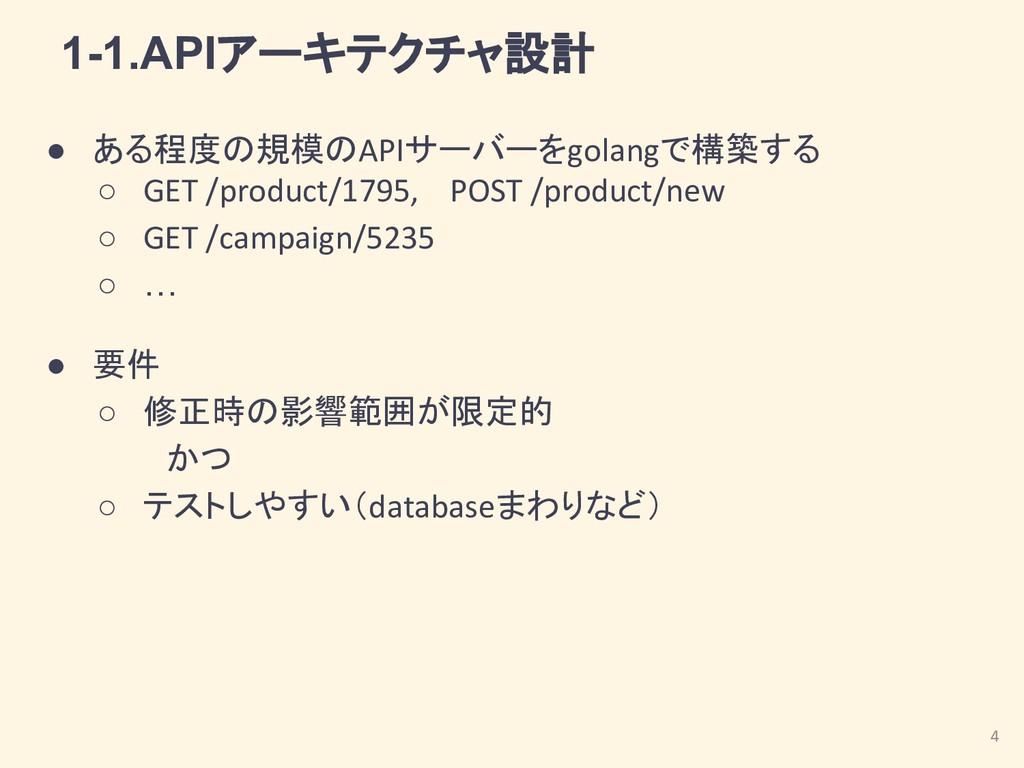 1-1.APIアーキテクチャ設計 ● ある程度の規模のAPIサーバーをgolangで構築する ...