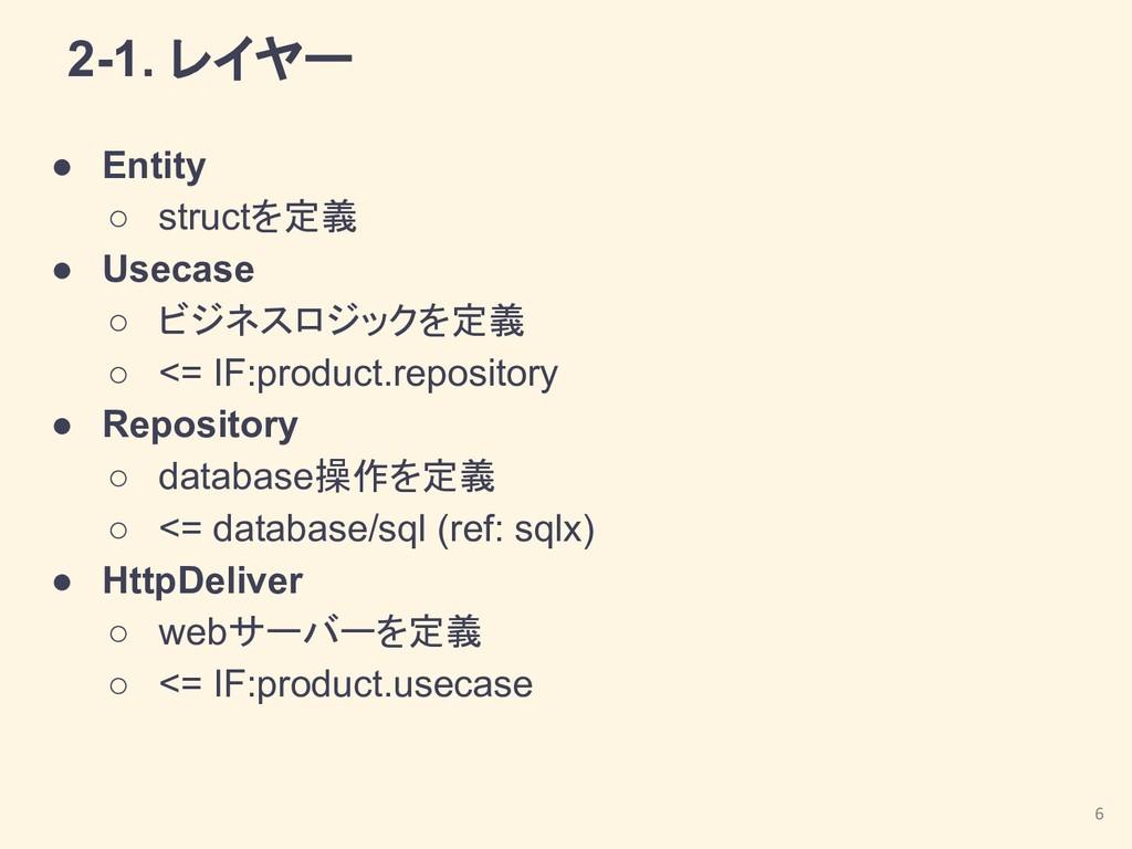 2-1. レイヤー ● Entity ○ structを定義 ● Usecase ○ ビジネス...