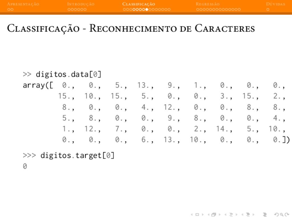 A I C R D C - R C >> digitos.data[0] array([ 0....